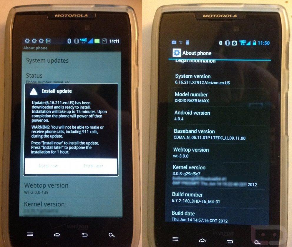 Motorola RAZR mit neuem ICS-Build
