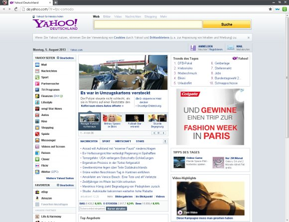 Comodo Dragon Internet Browser Startfenster