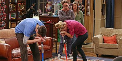 Leonard, Sheldon, Penny und Amy in Staffel 6 von The Big Bang Theory