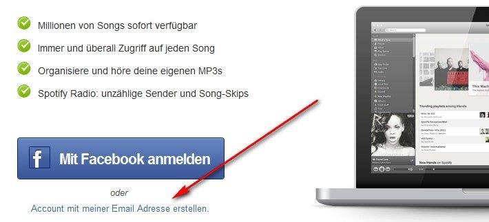Spotify ohne Facebook