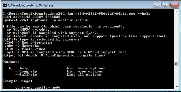 x264 Video Codec in der Windows-Konsole