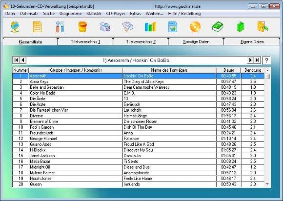 10 Sekunden CD Verwaltung Hauptseite