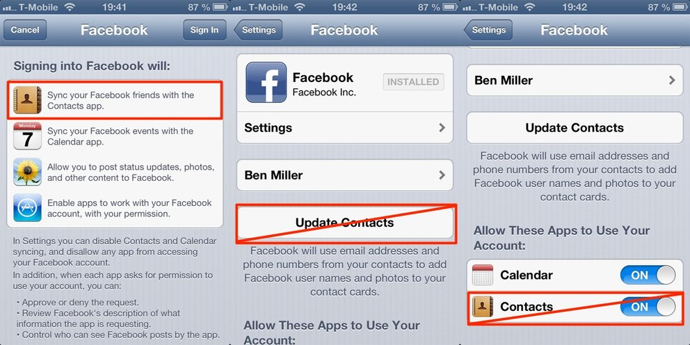 Facebook iOS-Sync