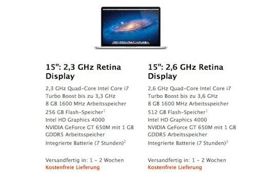 MacBook Pro mit Retina Display: Lieferzeiten erneut verkürzt