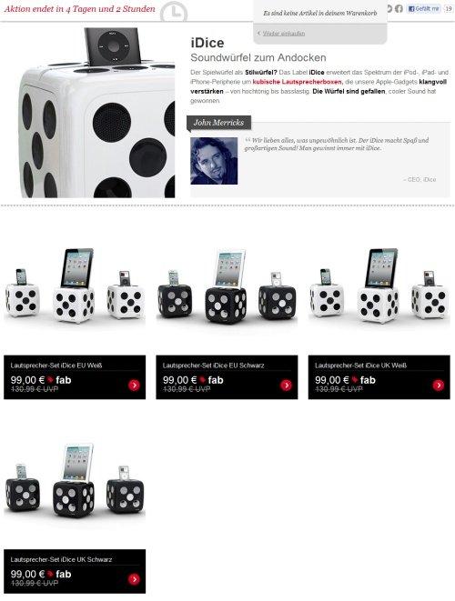 Fab iDice Soundwürfel Angebot