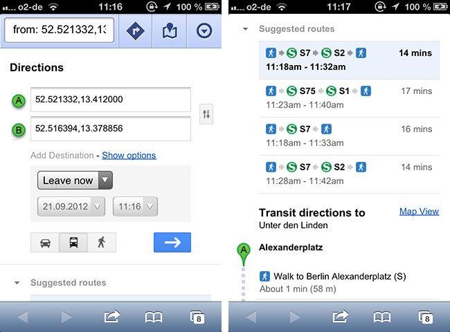 Apples Maps-App übergibt an Mobile Safari und erlaubt dann die Navigation mit Hilfe von Google Maps