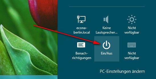 Windows 8 herunterfahren