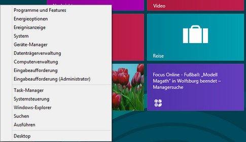 Windows 8 links unten