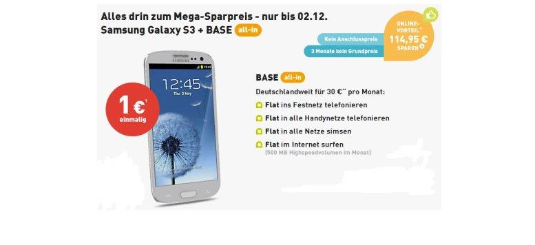 BASE all-in drei Monate ohne Grundpreis mit Samsung Galaxy S3