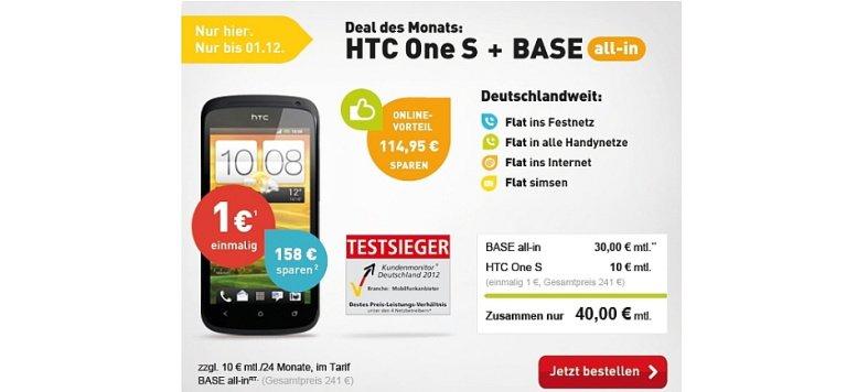 HTC One S und BASE all-in mit Online-Vorteil von 114,95 Euro