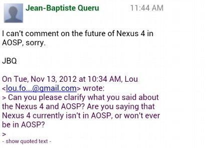 Nexus 4 AOSP Statement