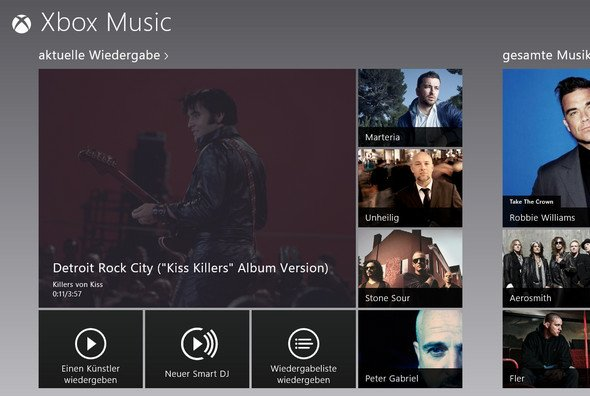Xbox Music - Windows 8 - Startbildschirm