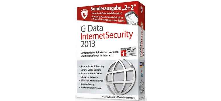G Data Internet Security 2013 Sonderausgabe 2+2 für 19,99 Euro