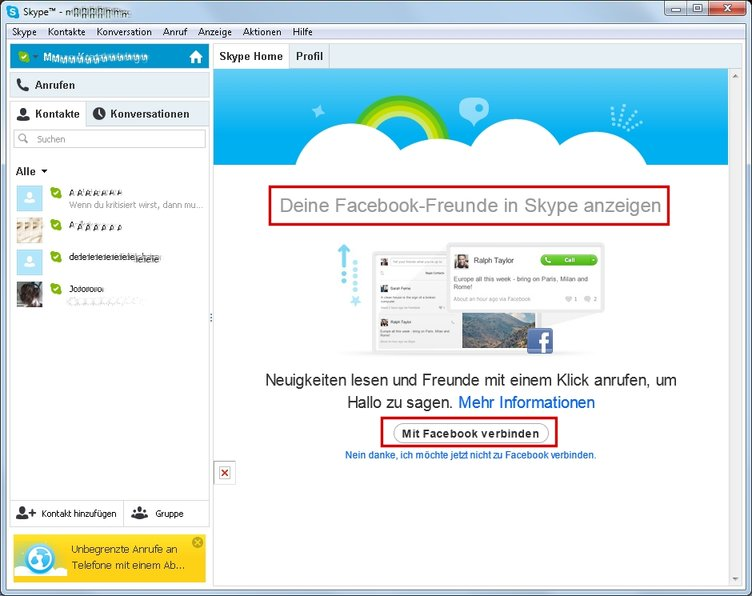 Skype-Anmeldung via Facebook