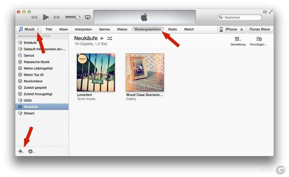 iTunes 11 Wiedergabeliste