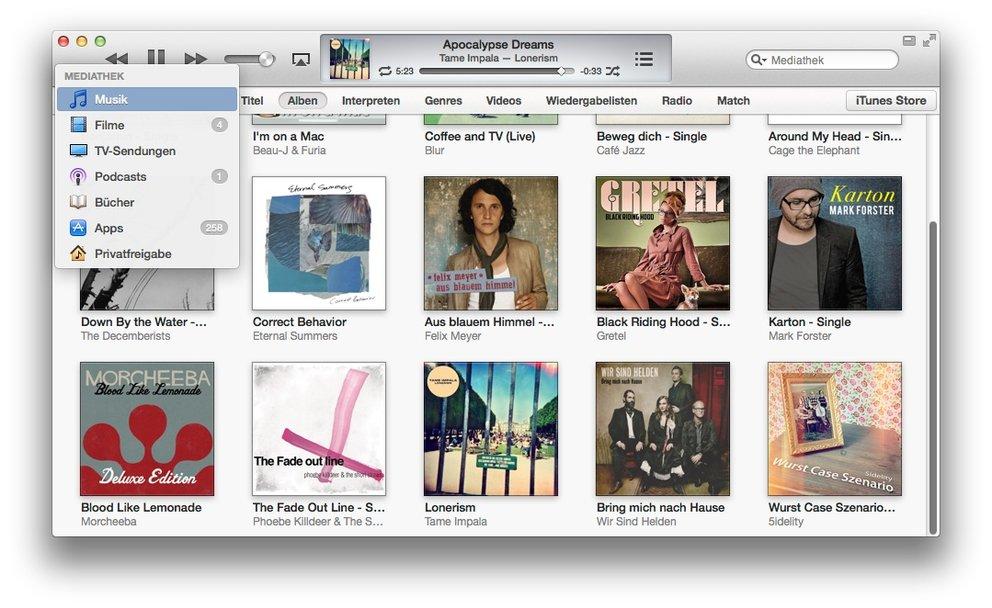 iTunes 11 ohne Seitenleiste