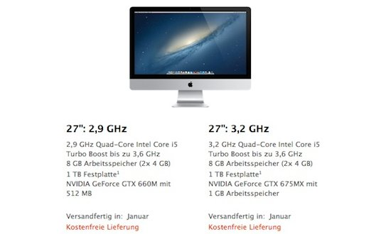 iMac: 27-Zoll-Modell erst im Januar 2013 versandfertig
