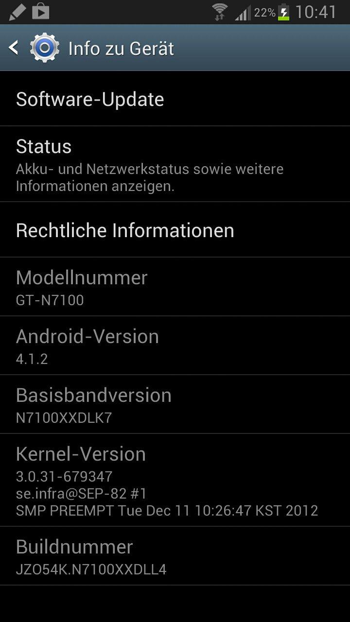 Android 4.1.2 für Note 2