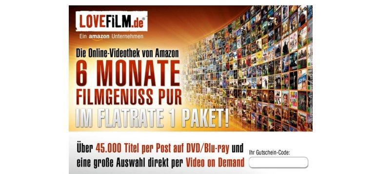 """LOVEFiLM - 6 Monate """"Flatrate 1"""" für 18,99 Euro bei Amazon"""