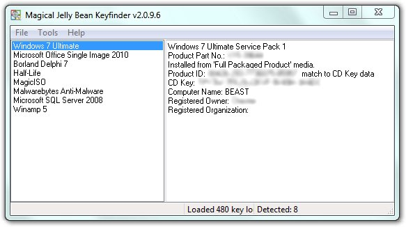 Magical Jelly Bean Keyfinder listet gefundene Keys auf