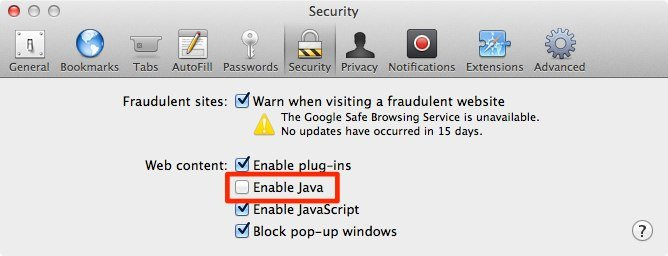 Java in Safari deaktivieren