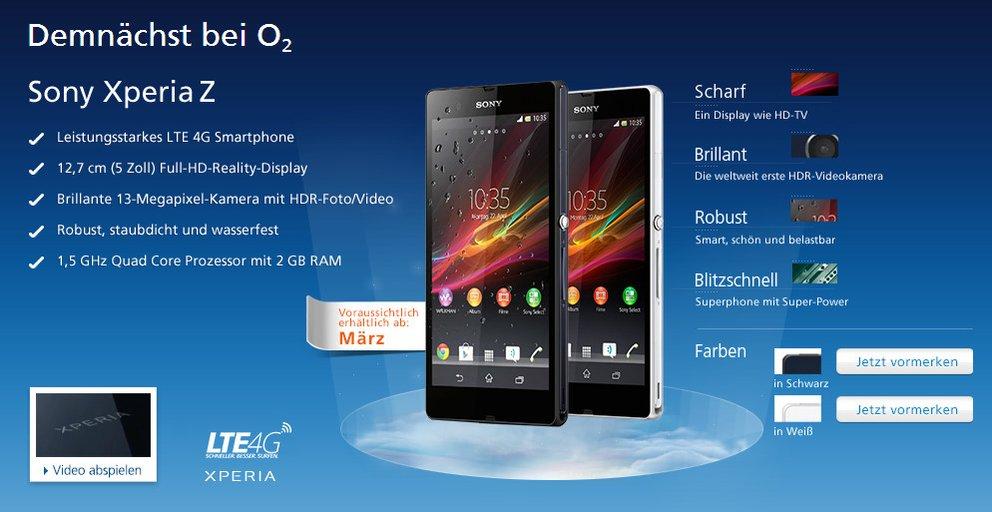 Sony Xperia Z: In Deutschland ab Februar/März erhältlich