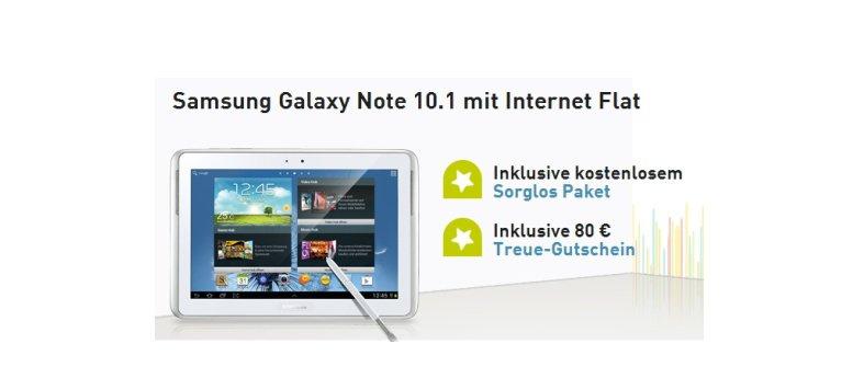 Samsung Galaxy Note 10.1 mit Internet Flat für 20 Euro monatlich