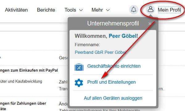 Paypal-Konto löschen Schritt 1