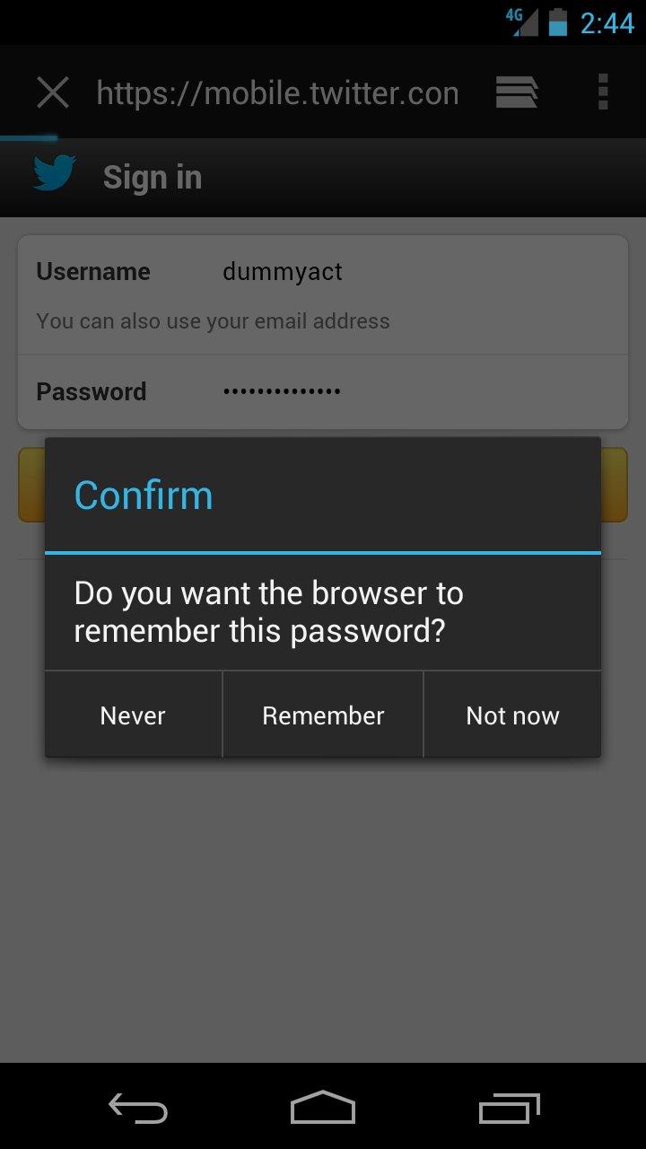 AOSP Browser Passowrt Speichern
