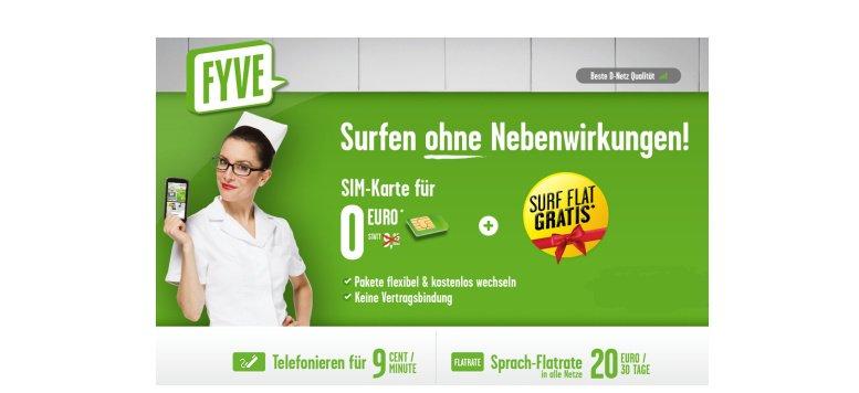 SIM-Karte für 0 Euro und einen Monat Surf-Flatrate gratis bei FYVE