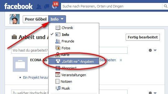 """Facebook - """"Gefällt mir""""-Angaben"""