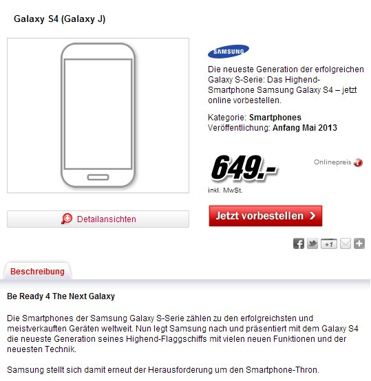 Samsung Galaxy S4 Media Markt