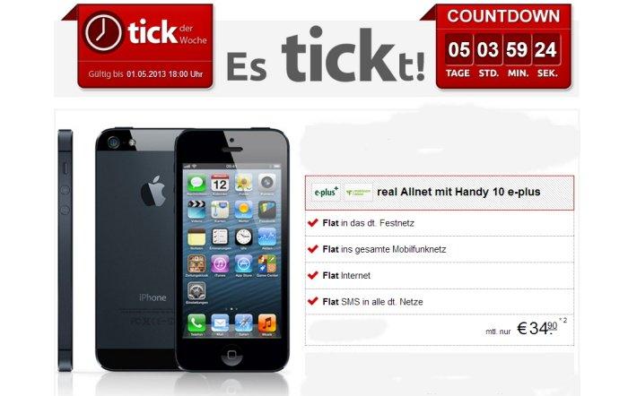 iPhone 5 mit Allnet-Flat für 34,90 Euro monatlich bei handytick