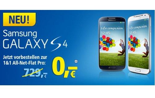 Samsung Galaxy S4 für 0 Euro mit All-Net-Flat Pro bei 1&1