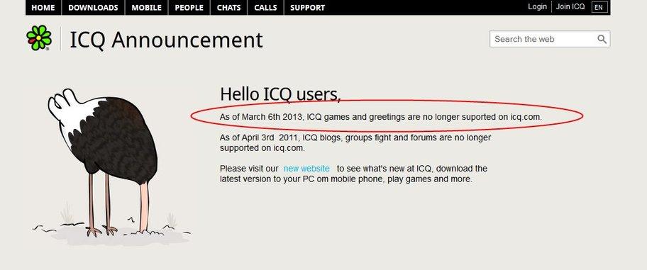 Im März 2013 haben die Entwickler von ICQ verkündet, keine ICQ Spiele mehr zu unterstützen
