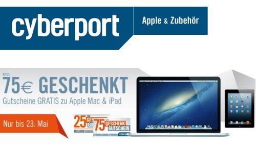 Bis zu 75 Euro Rabatt beim Kauf eines Mac oder iPad bei Cyberport