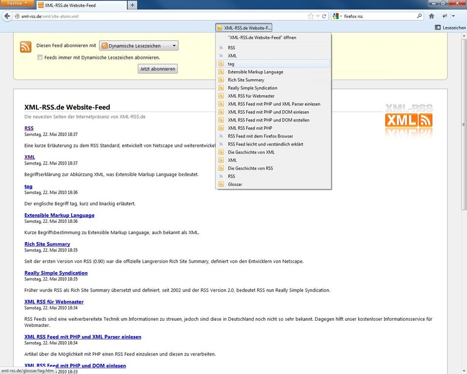Firefox RSS Screenshot