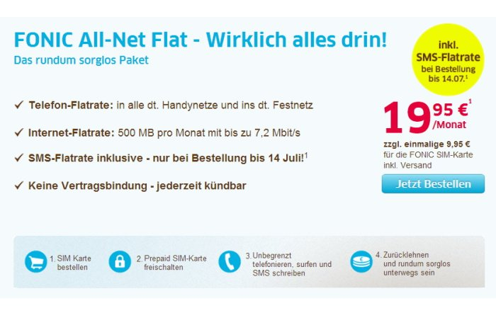 Fonic All-Net Flat incl. SMS-Flatrate für 19,95 Euro pro Monat