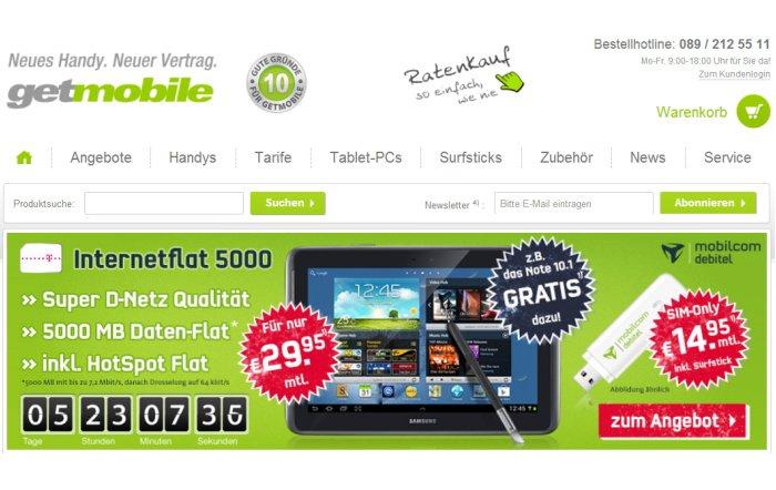 Internet-Flat mit 5 GB und Gratis Tablet