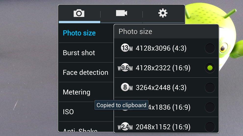 Samsung Galaxy S4 Kamera 9,6 MP