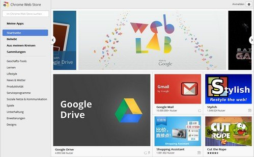 Chrome Apps im Chrome Web Store