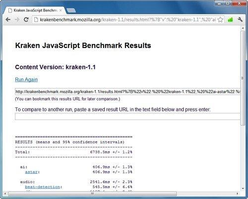 Kraken JavaScript Benchmark