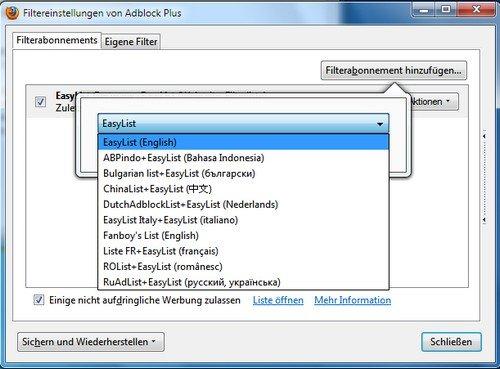 Firefox Adblock Plus Filter einbinden