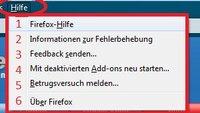 Die Firefox Hilfe: Fehlfunktionen finden und beheben