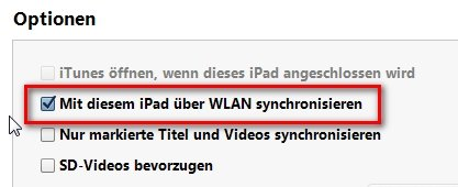 iPad iTunes WLAN Synchronisieren Option Screenshot