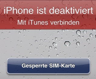 iTunes iPhone deaktivieren Screenshot