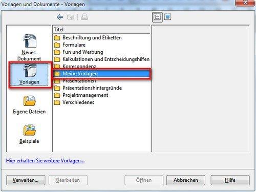 OpenOffice Writer Meine Vorlagen