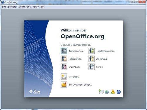 OpenOffice Portable Startbildschirm