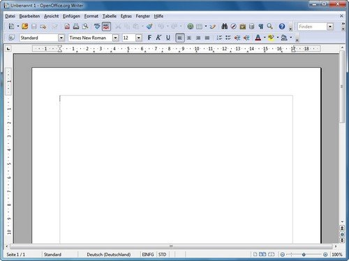 OpenOffice Writer Benutzeroberfläche