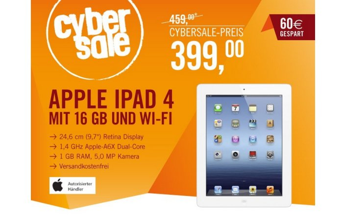 iPad 4 mit 16 GB WiFi für 399,00 Euro bei Cyberport